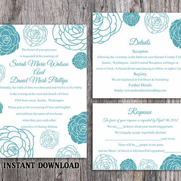 DIY Wedding Invitation Template Set Editable Word File Instant Download Printable Floral Invitation Rose Wedding Invitation Blue Invitations
