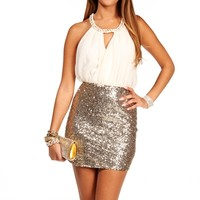 Ivory/Gold Keyhole Sequin Short Dress