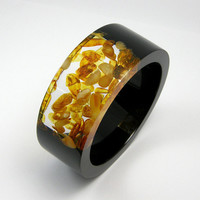 Resin and Amber Bangle model 1/4 / L size by sisicata on Etsy