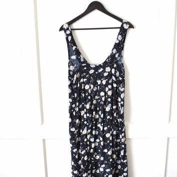 Vtg 90s floral dress / DAISY print MIDI length relaxed fit OVERALL dress