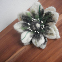 Felt wool flower,felt flower,green white black felt flower brooch,wool,art jewelry,felting brooch,unique,pin hat,scarf flower,corsage brooch