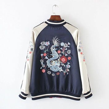 Fashion Satin Patchwork Womens Jackets Tops 2017 China Style Dragon Pattern Embroidery Bomber Jacket Women Reversible Coats