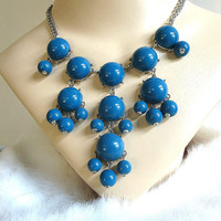 Blue Lucite Bead & Cabochons Dangle BIB Necklace Vintage