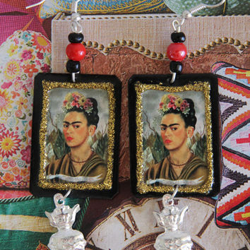 Genuine Mexican Folk Art Frida Khalo Earrings