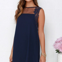 Midnight Bloom Navy Blue Lace and Mesh Dress