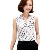 New Summer Chiffon Blouse Women Printed Sleeveless Blouse White Striped Blouses Shirts Female Office Shirt 718