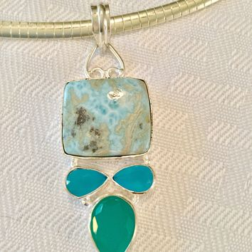 Square Larimar and Chalcedony sterling silver pendant