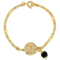 18k Gold Plated Simulated Azabache Evil Eye Guardian Angel Charm Bracelet 5.5""