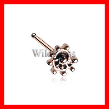 Rose Gold Ambro Swirl Filigree Icon Nose Stud Ring 316L Surgical Steel