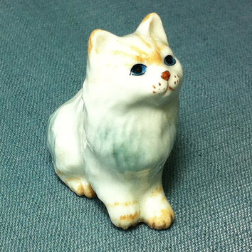 Miniature Ceramic Cat Kitty Sitting Animal Cute Little Tiny Small White Brown Grey Figurine Statue Decoration Craft Collectible Hand Painted