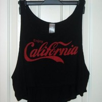 Enjoy California Crop Top S Black and Red Muscle Tank Summer Festival Coca-Cola
