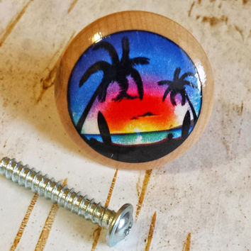 """Surf Boards Birch Wood Knob Drawer Pulls, Palm Trees, Beach, Sunset Cabinet Pull Handles, 1.5"""" Dresser Knobs, Made To Order"""