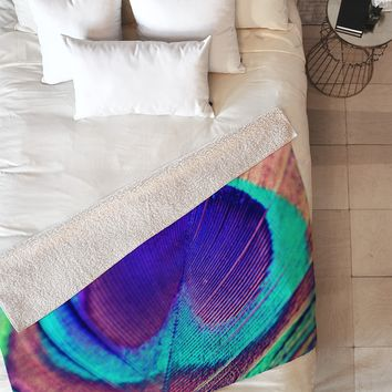 Shannon Clark Pretty Peacock Fleece Throw Blanket