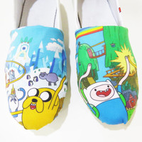Adventure Time Shoes (Toms, Slip on, Flats, Finn, Jake) Men, Women, Kids, Youth