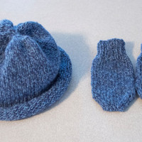 Blue Baby Hat and Mitten Set, Infant Hat, Hand Made in USA, Lambswool & Angora Blend