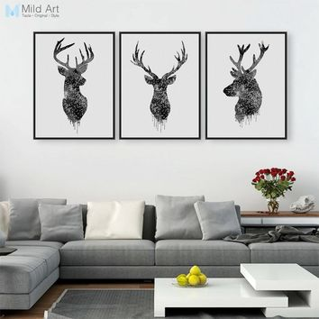 3 Piece Modern Abstract Black Deer Head A4 Art Print Poster Hipster Wall Picture Nordic Home Decor Canvas Painting No Frame Gift