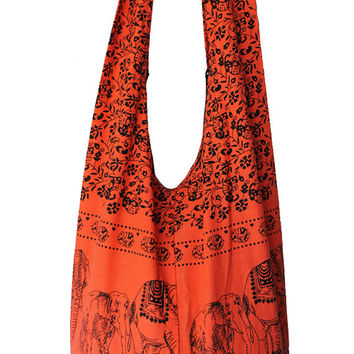 elephant Bag,shoulder Bag,cotton Bag,thai Bag, messenger Bag,diaper Bag,handbags,hippie Hobo Bag,tote Bag, boho cottonHippie Elephant Sling