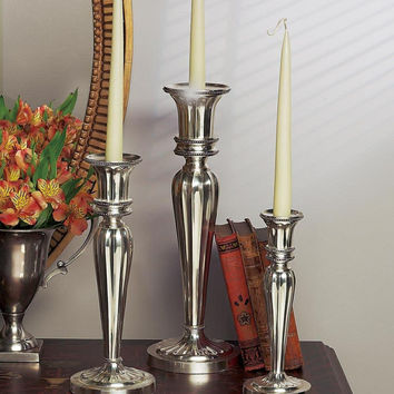 Dessau Home Antique Silver Fluted Candleholder - W477
