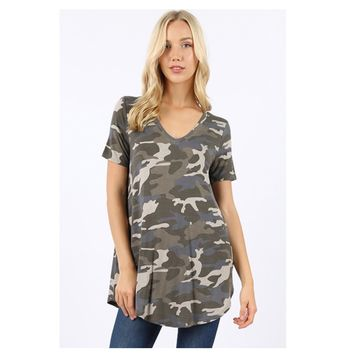 Adorable Me, V Neck Dusty Camouflage Top