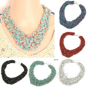 Women Vintage Bohemia Beads Chain Bib Statement Necklace Choker Chunky Collar Pendants = 1946650820