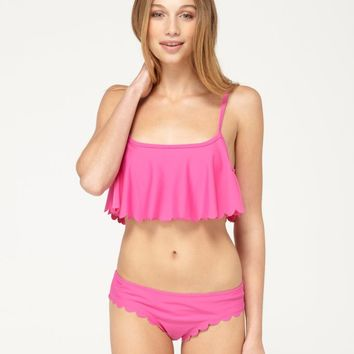 Sun Dancer Cropped Scalloped Tankini Top - Roxy