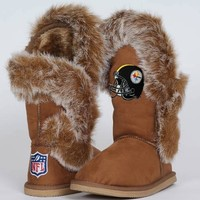 Cuce Shoes Pittsburgh Steelers Ladies Fanatic Boots - Tan