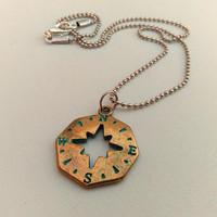 North Star Pendant, Compass Charm Necklace, Nautical Necklace, Explore Necklace, Travel Pendant, No Matter Where, Patina Necklace Verdigris