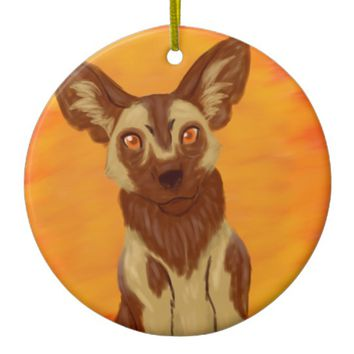 African Wild Dog Ceramic Ornament