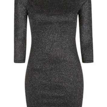 Zig Zag Glitter Bodycon Dress - Black
