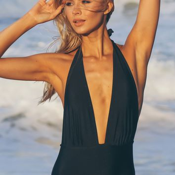 Low Cut Halter One Piece Swim Black
