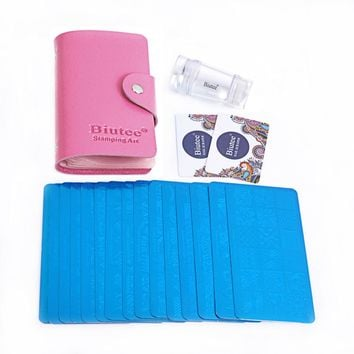Biutee 19pcs Nail Stamp Plates set 15 plate 1Stamper 2Scraper 1storage bag Nails Art Stamping Plate Tools