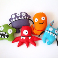 Individual Felt Monster - Plush Monster Toys - Handmade Felted Toy Character