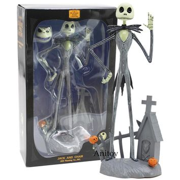 The Nightmare Before Christmas Jack Skellington JACK AND CHAIR PVC Action Figure Collectible Model Toy Gift 30cm