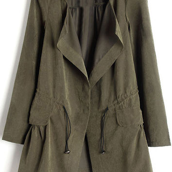 Shop Army Green Trench Coat on Wanelo