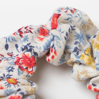 Beautiful light handmade cotton fabric scrunchy with floral print