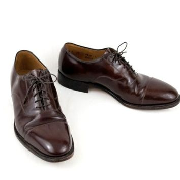 Johnston & Murphy Shoes 8.5 M Brown Leather Cap Toe Oxford EU 41.5