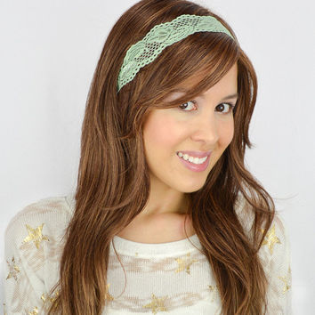 Lace Headband Mint Stretch Headband Women Headband workout headband lace stretchy headband Mint headband boho headband green headband girly