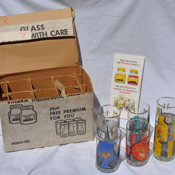 Extremely Rare Vintage Roerig Set of History of Pharmacy Glasses 1960s
