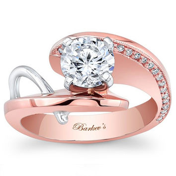 Barkev's 14K Rose and White Gold Prong Set Round Cut Diamond Contemporary Engagement Ring