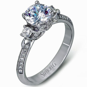 Simon G. Three Stone Vintage Style Engagement Ring
