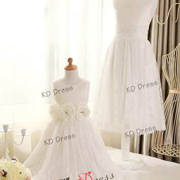 ON Sale !!!Ivory Lace Skirt Satin Flower Girl Dress Children Birthday Party Dress Kids Dress with sash/flower (Z1005 )