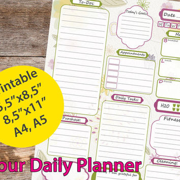 Daily Planner Printables, a5 planner, printable planner,  A4 planner, to do list - Instant Download PDF