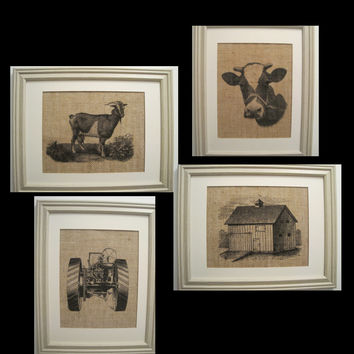 Burlap, 4 Farm Prints,Tractor Barn Cow Goat Prints, Burlap Farme Art, Nursery Art, Farm, Barn, Tractor, Goat, Cow Burlap Prints