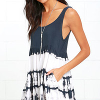Tide is High Charcoal Grey Tie-Dye Babydoll Dress
