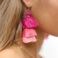 Moonlight Pink Three Layer Tassel Earrings