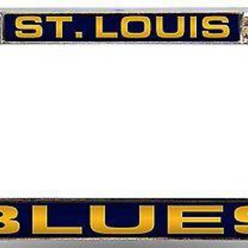 St Louis Blues Premium LASER FRAME Chrome Metal License Plate Cover Tag Hockey