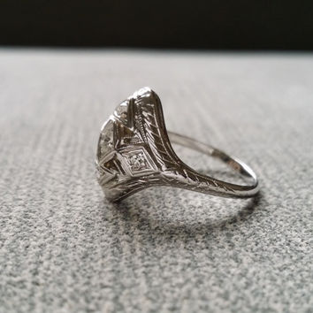 Antique Diamond Engagement Ring White Gold Filigree Ring Victorian Edwardian Art Deco North South White 14K Gold Size 5.5