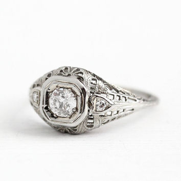 Antique 18k White Gold Art Deco .45 CTW Diamond Ring - 1920s Size 7 3/4 Vintage Heart Filigree Fine Engagement Wedding Jewelry Appraisal