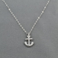 Tiny Anchor Necklace 925 Sterling Silver by WonderfulJewelry