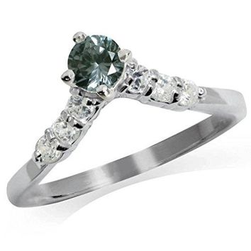 Simulated Color Change Alexandrite amp White CZ 925 Sterling Silver VShape Ring